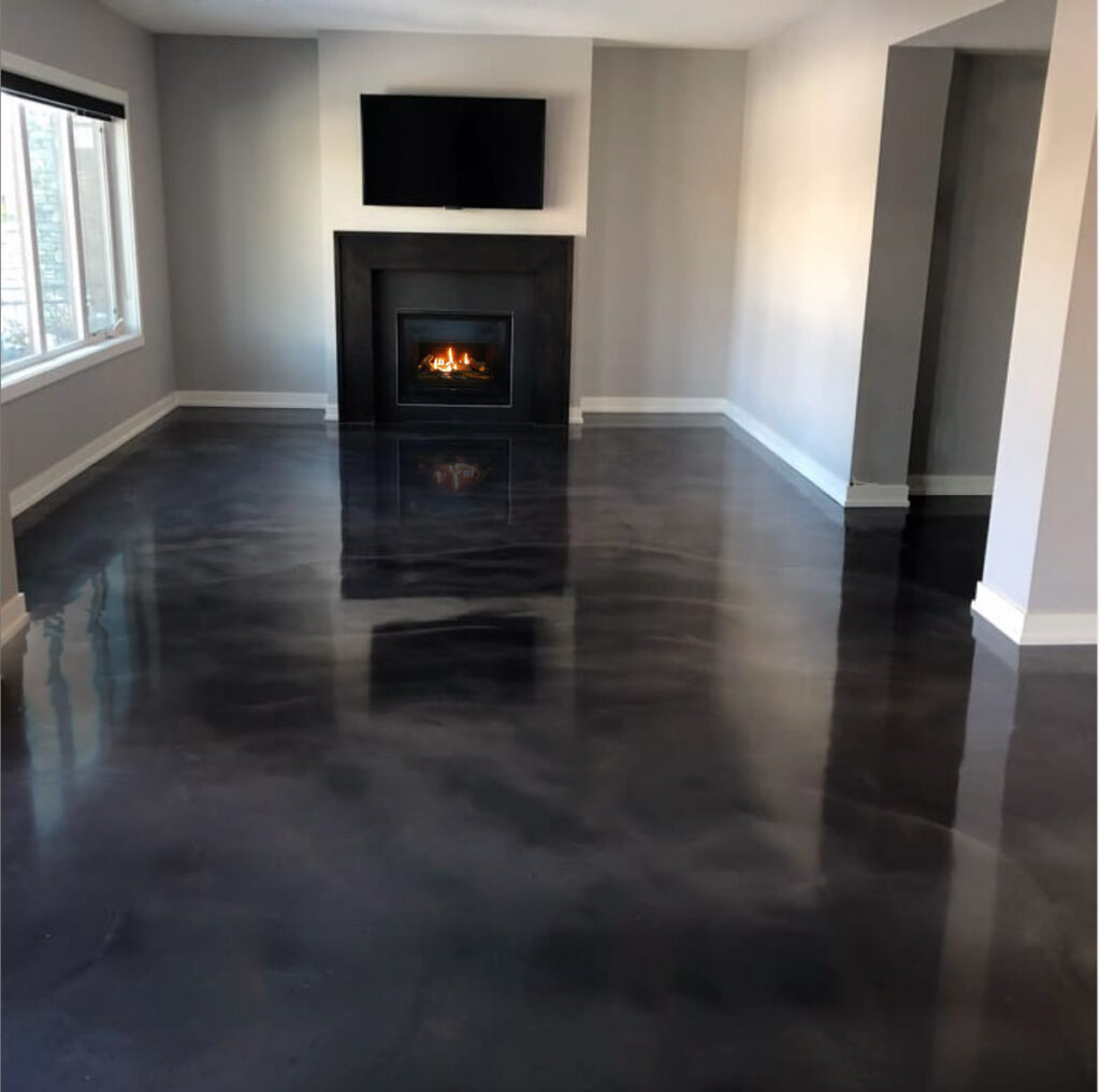 Black Metallic Epoxy Floor - Calgary